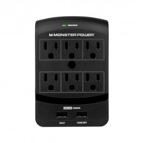 Conector de Pared Monster 6 entradas y 2 para cable USB - Envío Gratuito