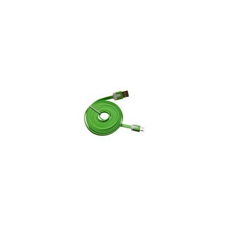Cable Micro USB 3.2Ft Flat Verde - Envío Gratuito