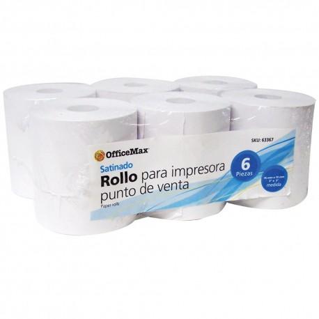 Rollo Officemax Satinado 76mm Ancho X 70mm Diámetro 6 Piezas - Envío Gratuito