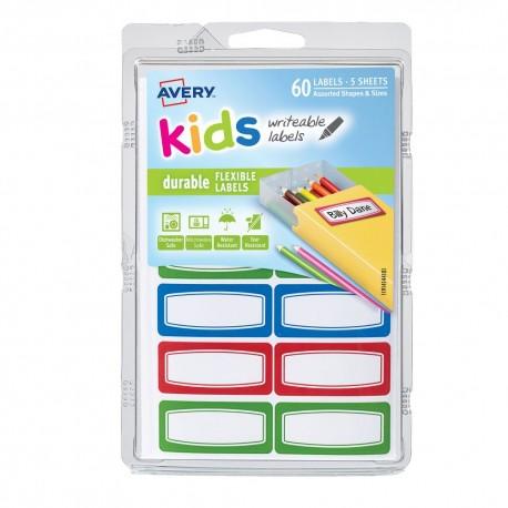 Etiqueta kids rectangular 19 x 54 cm bordes color 60p - Envío Gratuito